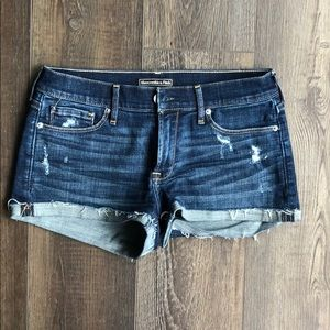 Abercrombie stretchy distressed denim shorts